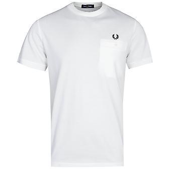 Fred Perry Lomme Detalj Hvit Pique T-skjorte