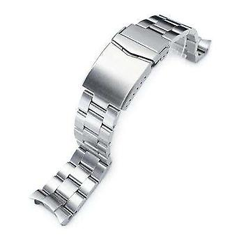 Strapcode watch bracelet 22mm super 3d oyster watch band for seiko diver skx007/skx009/skx011, brushed v-clasp button double lock