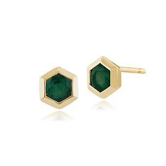 Geometric Hexagon Emerald Bezel Set Stud Earrings in 9ct Yellow Gold 135E1241029