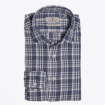 Thomas Maine  - Flannel Checked Shirt - Navy/White