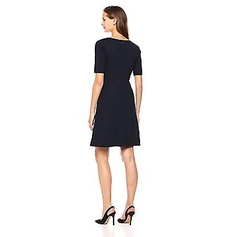 Brand - Lark & Ro Women's Half Sleeve Twist Front Fit and Flare Dress, Navy, 6
