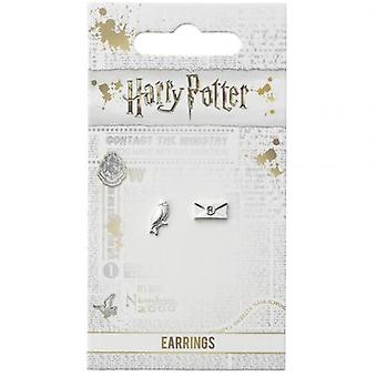 Harry Potter Silver Plated Earrings Hedwig Owl & Letter