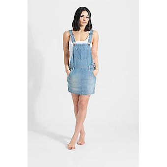 Cicely womens short denim dungaree dress - aged blue