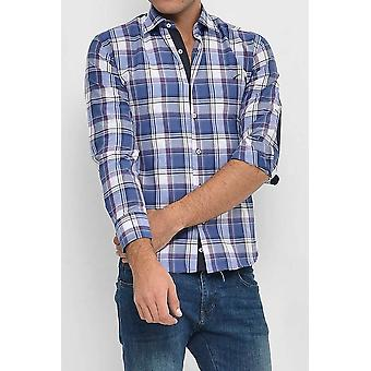 Slim fit plaid patterned navy blue shirt