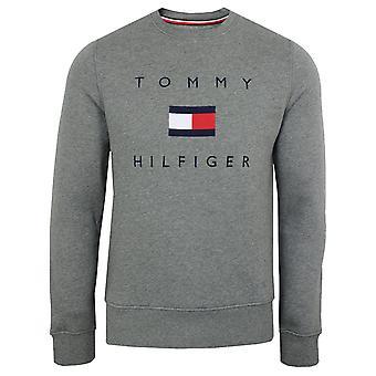 Tommy hilfiger men's dark grey heather flag sweatshirt