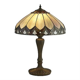 2 Lichte Tiffany Tafellamp Antiek Brons, Zwart, Bruin, Paars, E27