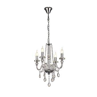 Luminosa Beleuchtung - Kronleuchter Deckenanhänger, 4 Licht E14, poliert Chrom, klares Glas, Kristall