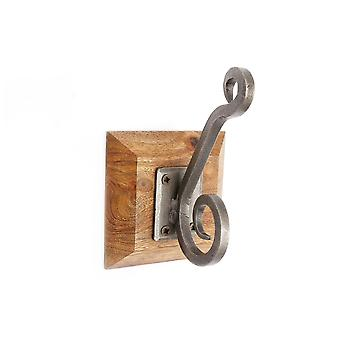 Single Metal Hook On Wooden Base Strong