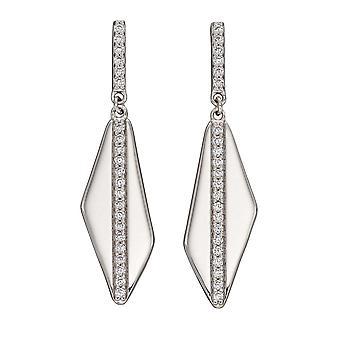 Fiorelli Silver Asymetric Channel Set Cubic Zirconia Earrings E5894C
