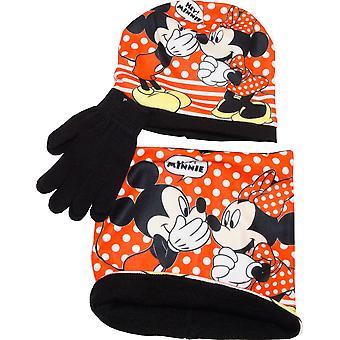 Mädchen HS4033 Disney Minnie Mouse Wintermütze, Handschuhe und Hals wärmer Kragen