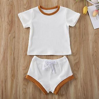 Toddler Baby Summer Clothing Newborn Kids Ribbed Knitted Short Sleeve