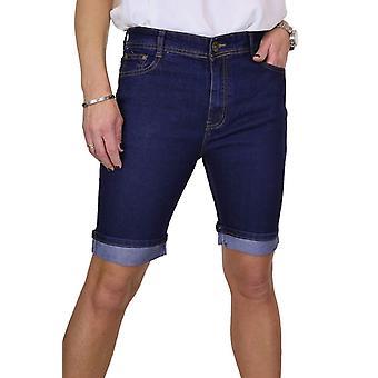 Frauen's Stretch Denim Jeans Shorts mit Kontrast Turn Up Manschette blau 10-20