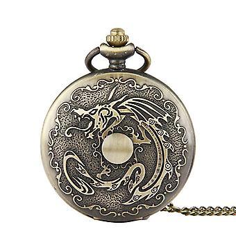 DEFFRUN Retro Bronze klassische Drachen Muster Kette Quarz Taschenuhr