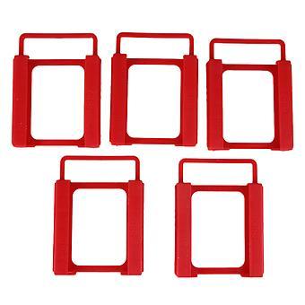 5pcs Kunststoff 2,5 bis 3,5 Zoll SSD HDD Festplatte Laufwerk Montage Halter Kit rot
