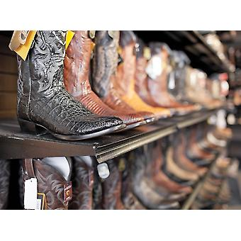 Rows Of Cowboy Boots In A Western Clothing Store Banff Alberta Canada PosterPrint