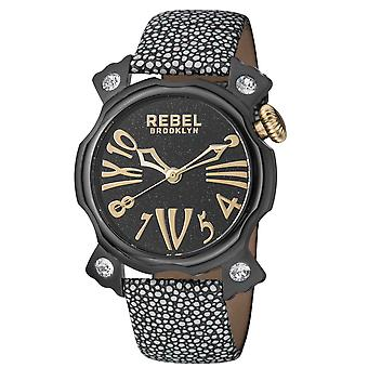 Rebel Women's Coney Island Black Dial Graphite Leather Watch