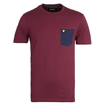 Lyle & Scott Contrast Pocket Merlot & Navy T-Shirt