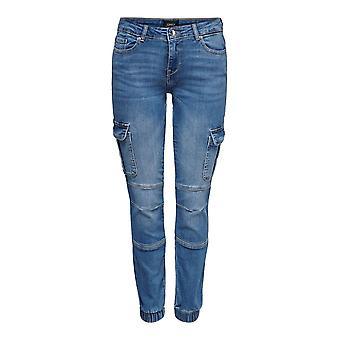 SOLO mujeres flacas ajuste Jeans ONLMISSOURI LIFE Reg Cargo Calábulo acanalado Doblado Casual Pantalones