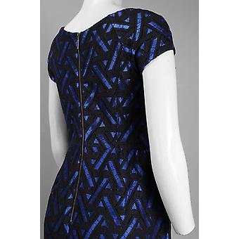 Kort ärm båt hals blixtlås detalj bomull spets overlay klänning