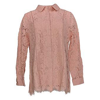 Isaac Mizrahi Live! Dames's Top Lace Button Voorblouse Roze A311373