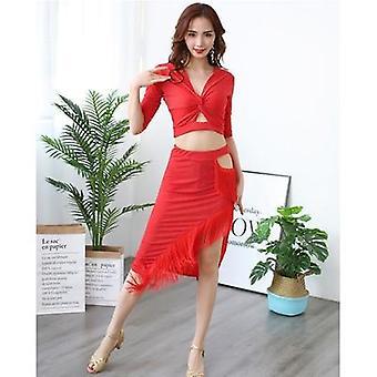 2-stykker halværmer, Samba Dance Dress, Costume Top &Skirt