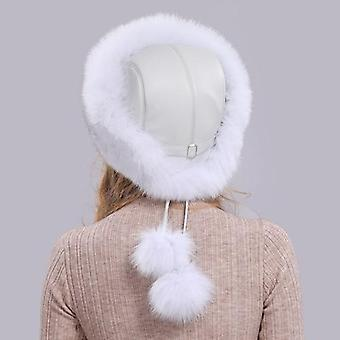 Hot Russian Winter Natural Fox Fur Hat Warm Soft Fluffy Real Fox Fur Bomber