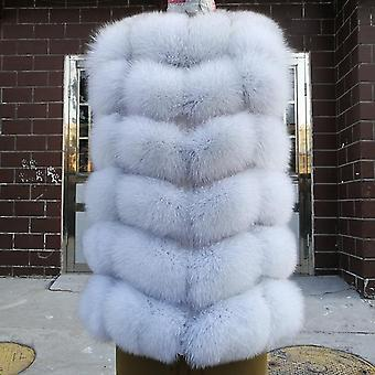Fashion Natural Real Fox Fur Vest Jacket Women Short Sleeveless Winter Warm