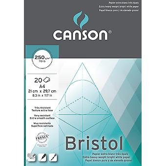Canson bristol 250gsm paper, high-white & ultra-smooth, a4 pad including 20 sheets a4 - 21x29.7cm