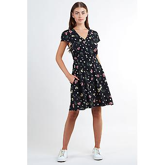Louche Womens Cathleen Elderflower Floral Mini Tea Dress Black