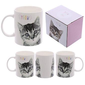 De porseleinmok van het pret - miauw leuk katjeontwerp