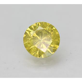 Cert 0.56 Carat Vivid Yellow SI2 Round Brilliant Enhanced Natural Diamond 5.21mm