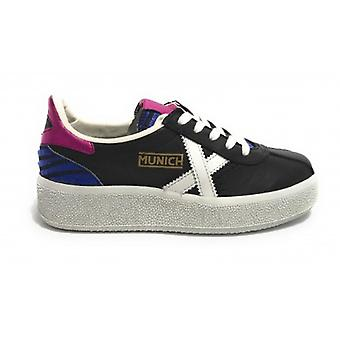 Shoes Women Munich Sneaker Mod. Barru Sky In Black Leather \ Pink 040 Ds20mu08