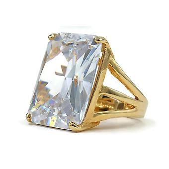 Oversized Radiant Cut Solitaire Clear Stone Ring