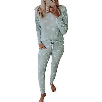 Women's Green Star Print Pocket Drawstring Pant Pajama Set