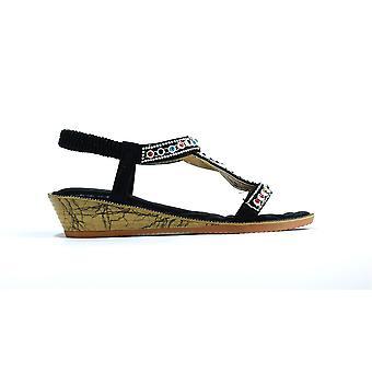 Multigem Open Toe Sandal Black