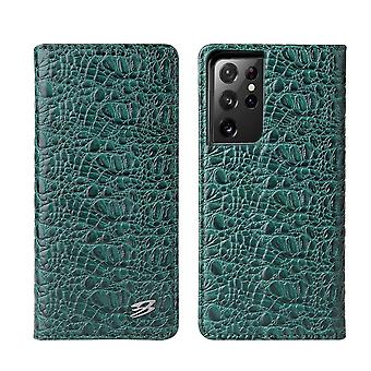 For Samsung Galaxy S21 Ultra Case Croc Pattern Genuine Cow Leather Cover Green