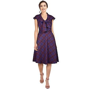 שיק כוכב פלוס גודל רטרו 1940s שמלה בסגול / משובץ