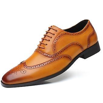 Muži Príležitostné kožené Bullock vyrezávané nízke topánky mokasíny