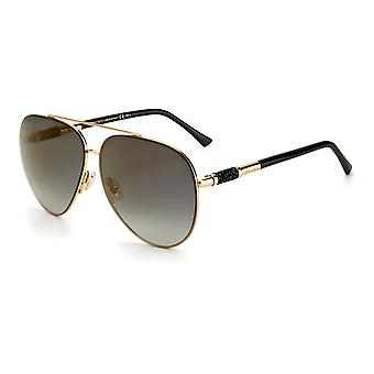 Jimmy Choo GRAY/S RHL/FQ Gold Black/Grey Gradient Gold Mirror Sunglasses