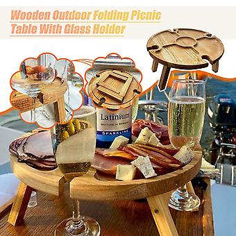 Wooden Outdoor Tables Folding Picnic-table With Glass Holder 2 In 1 Wine Glass Rack Outdoor Wine Table Wood Table
