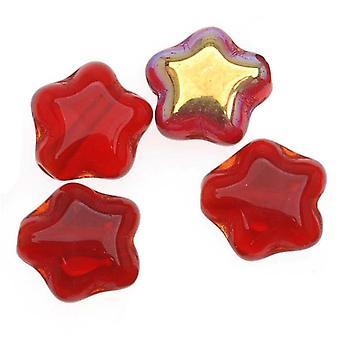 Cuentas de vidrio checas Translúcidas Siam Red AB Tiny Stars 6mm (25)