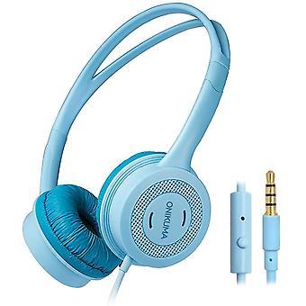 Hoofdtelefoon voor kinderen van 3-12 jaar met een volume van maximaal 85 dB, 3,5 mm audio-aansluiting, microfoon, 1,2 m snoer, voor smartphone, tablet, pc, iPad, school, (blauwe kleur)