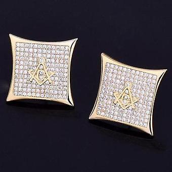 Ледяной квадрат масонской шпильки серьги золото или серебро