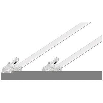FengChun 93065 Modularanschlusskabel 15 Meter, Weiß - RJ11/RJ14-Stecker (6P4C) auf RJ11/RJ14-Stecker