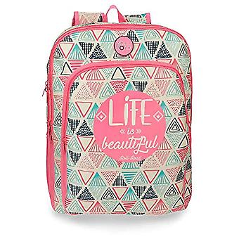 ROLL ROAD Life School backpack double compartment adaptable to trolley Multicolore 32x42x17 cms Polyester 23.56L