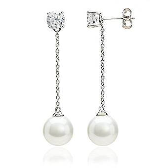Eye Candy - Sterling 925 rhodium silver women's earrings, with 2 farmed freshwater beads, with 2 white zircons, Ref. 4045425027474