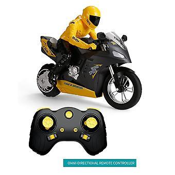 Auto equilibrio RC Motocicleta 6 eje de giroscopio Stunt Racing Motocicleta Plástico Mini Toy (Amarillo)