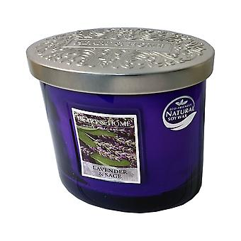 Heart & Home Ellipse Twin Wick Soy Wax Candle - Lavender & Sage 00276260106