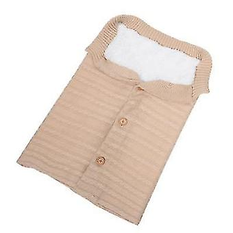 Beige baby kids toddler thick knit soft warm blanket swaddle sleeping bag x4577