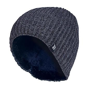 Mens fin ribbad fleece fodrad termisk mössa hatt
